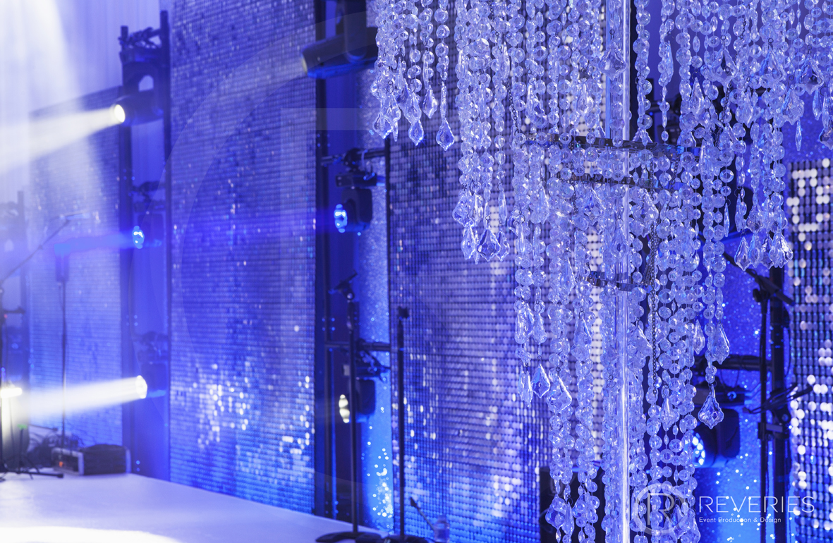 Snowman Spectacular 2016 - Giant chandelier and shimmer disc backdrops