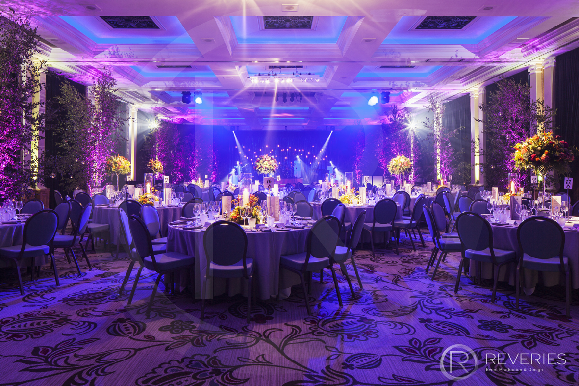 Enchanted Garden Party - The room with table, lighting and prop design