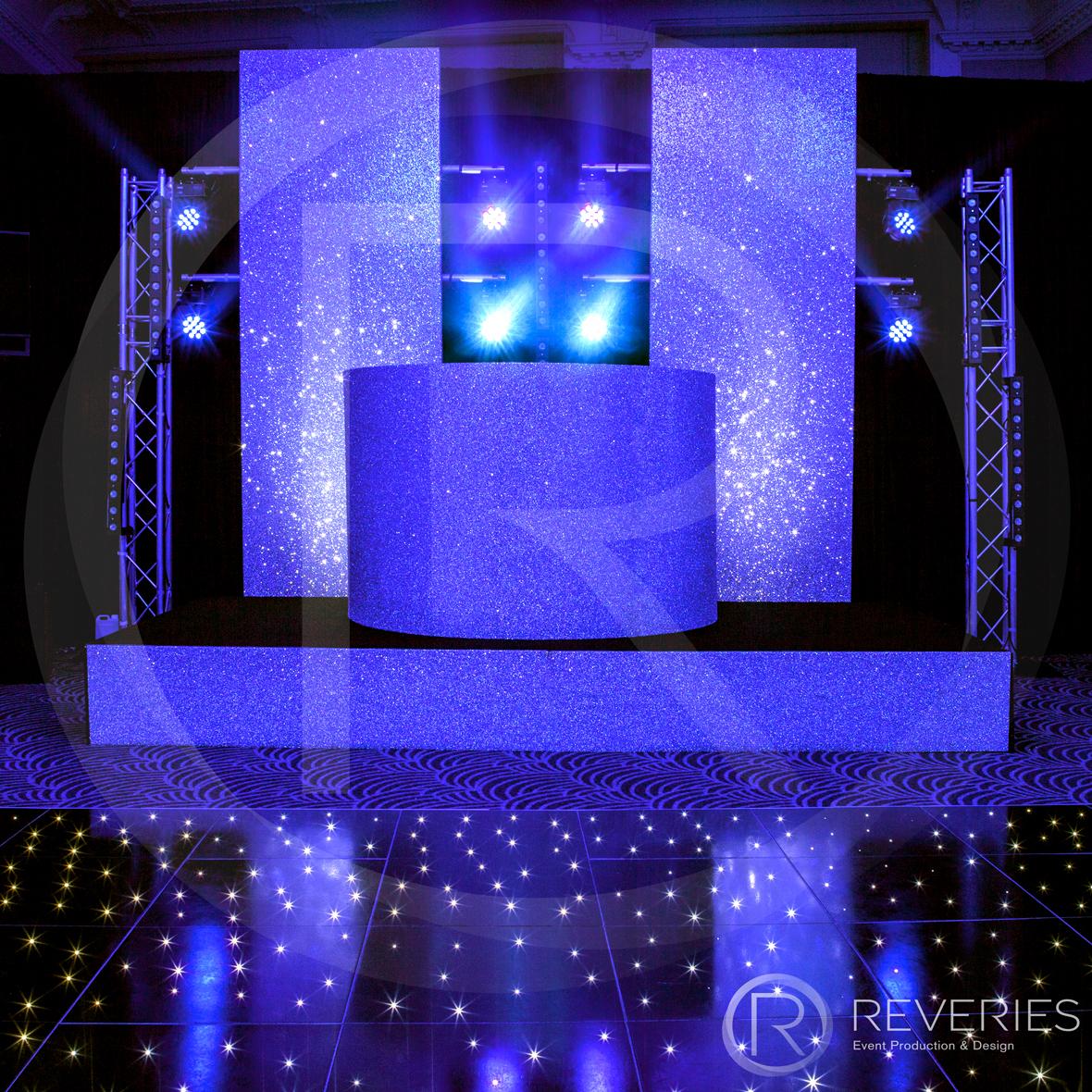 White Label - Bespoke glittered DJ booth and LED studded dancefloor