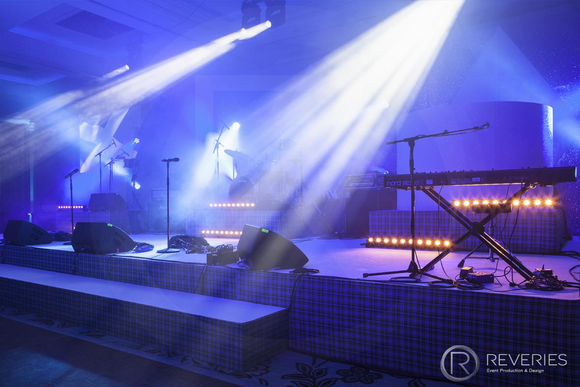 Burns Night Supper - Bespoke Scottish blue tartan stage set design
