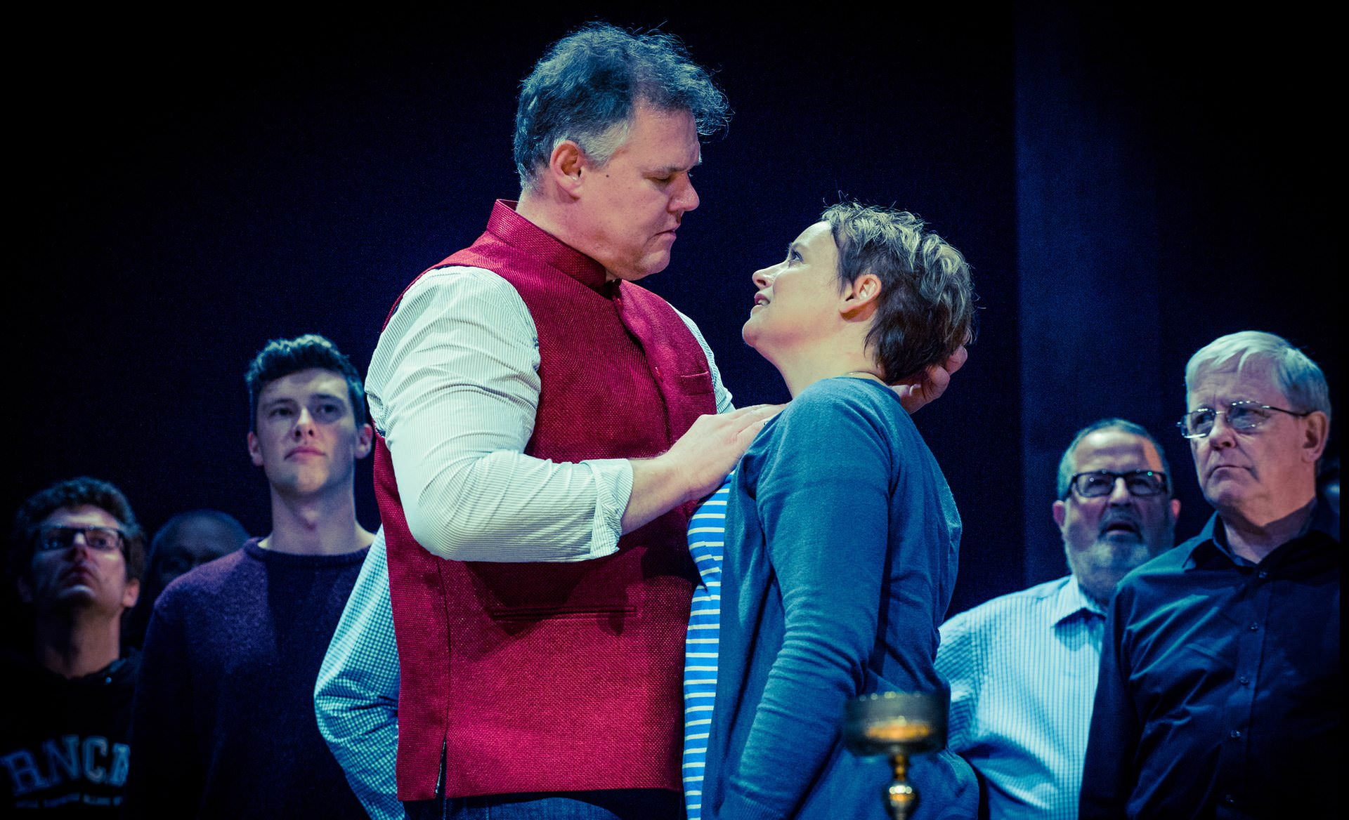 Bryan Register and Rachel Nicholls in rehearsals for Tristan und Isolde at Grange Park. Photograph: Robert Workman