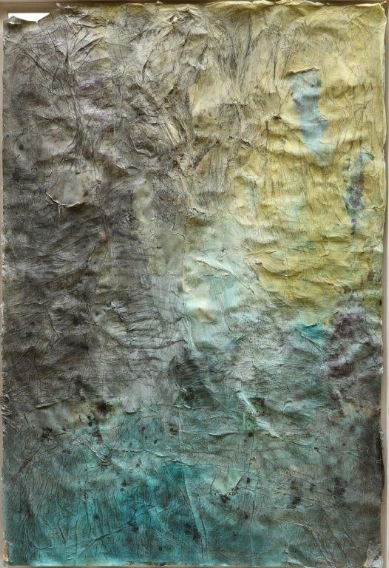 Zad Moultaka, Come In Terra VII , 2014,                     mixed media on paper,                             7 x 87 cm.              (c) Zad Moultaka & Galerie Janine Rubeiz