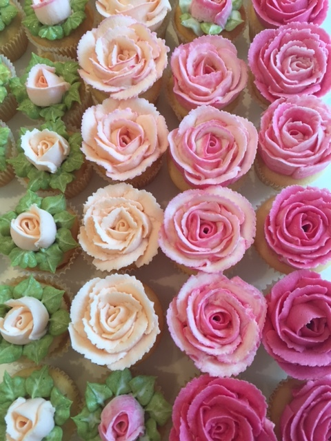 Mini rose cupcakes make a perfect dessert canape, £1.80 each, minimum order 24.