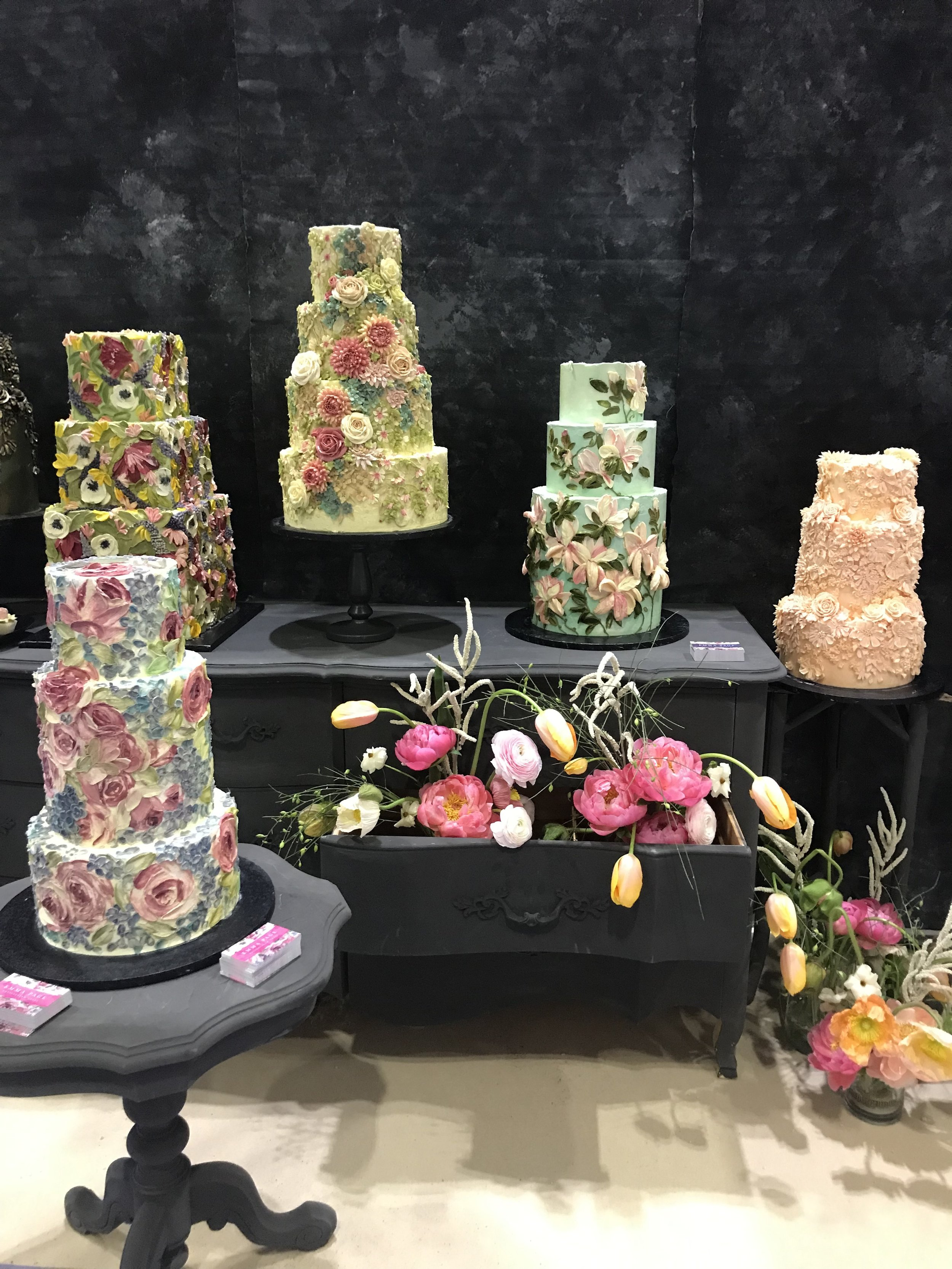 Buttercream wedding cakes displayed at the National Wedding Show 2019 by Emma Page Buttercream Cakes London
