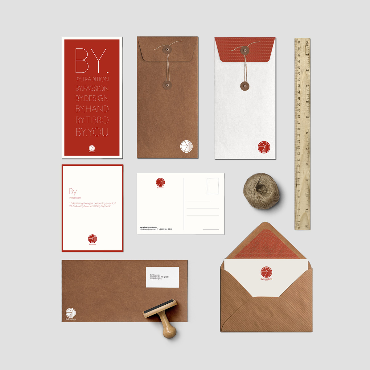 APPLICATIONS - Once the brand was designed, some different applications of it were designed. These applications were envelopes, postcards, catalogues, visit cards, labels, posters...