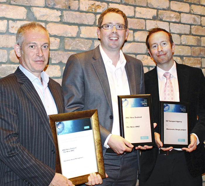 Winners of the Global Alliance COMM PRIX Awards 2013 from New Zealand received their Award at PRINZ Christmas event.   Left to right: they are Andrew Park and Paul Carlee from ANZ New Zealand, winner of the Reputation/Brand Management category, and Anthony Frith from NZ Transport Agency, winner of the Issues Management category.