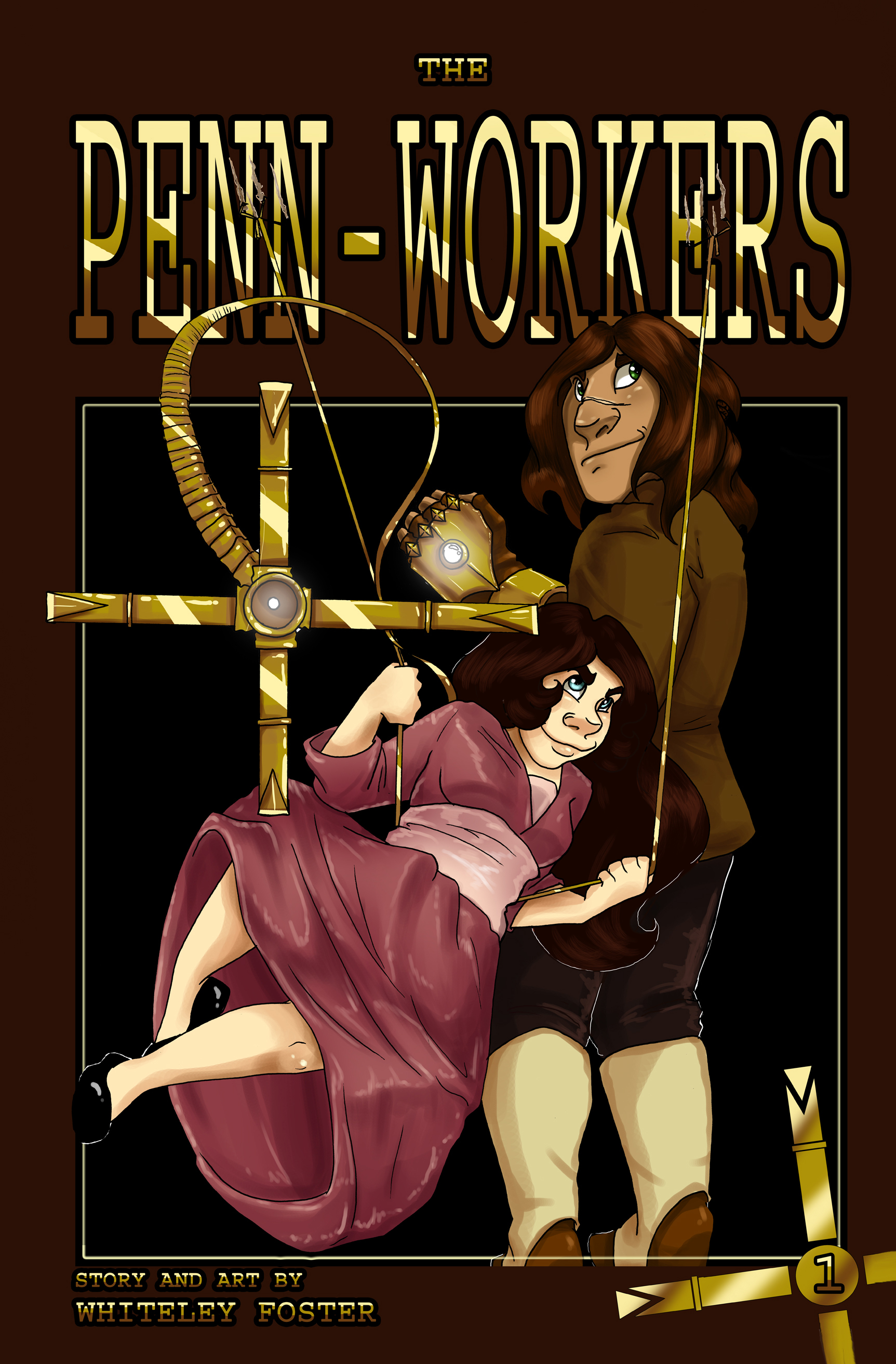 The Penn-Workers  - 2015-16     A pair of siblings imbued with a magical type of technology take on the harsh city life to fend off the creatures that lurk in the dark and protect their family!  A 100 page graphic novel, only available for purchase - 9 month work period