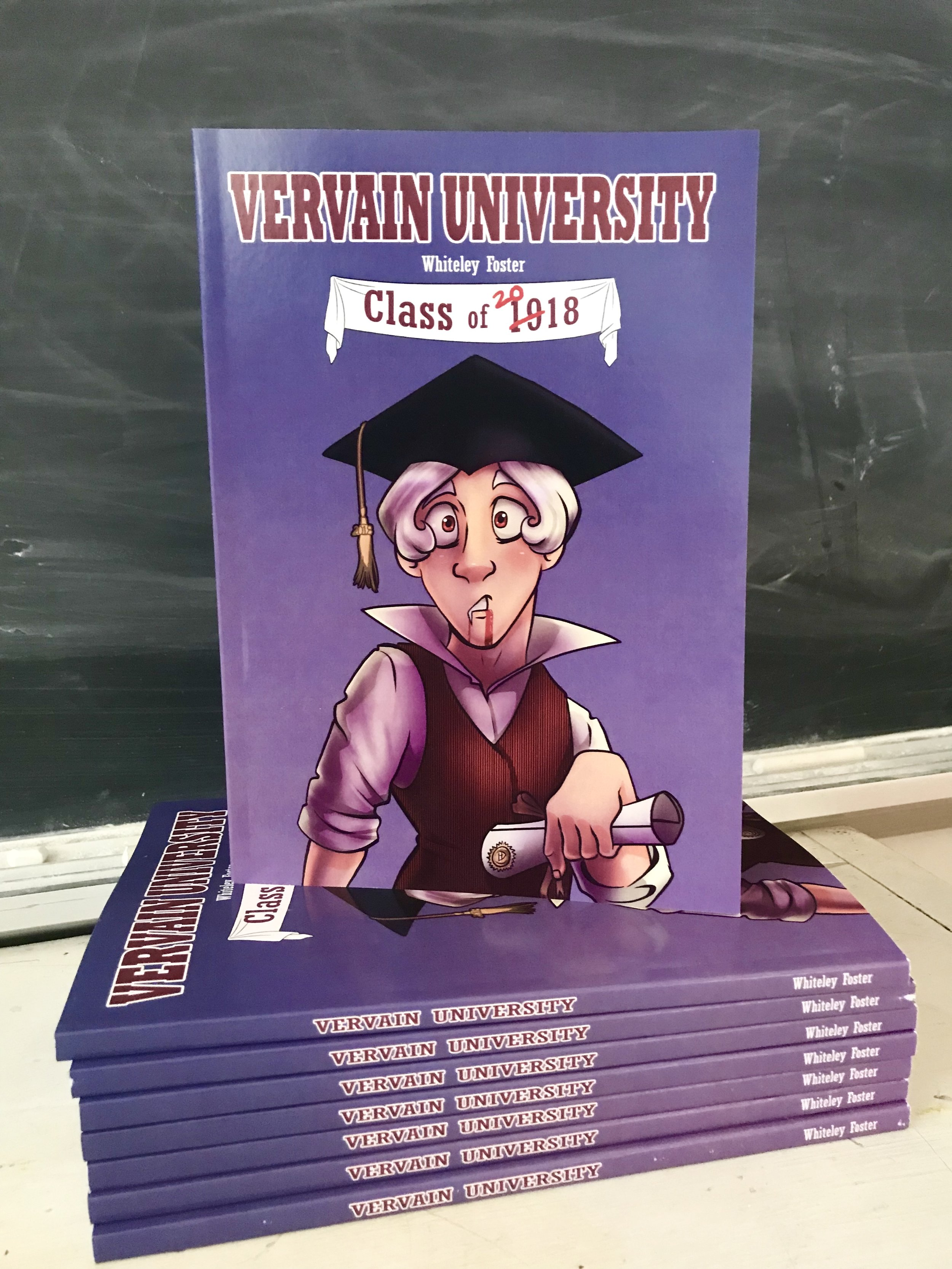 Vervain University - 2017/18     Alfie (a high strung, academically inclined, vampire) has only one fear: joining the working world. An anxiety which has kept him from graduating from college for the past 100 years.