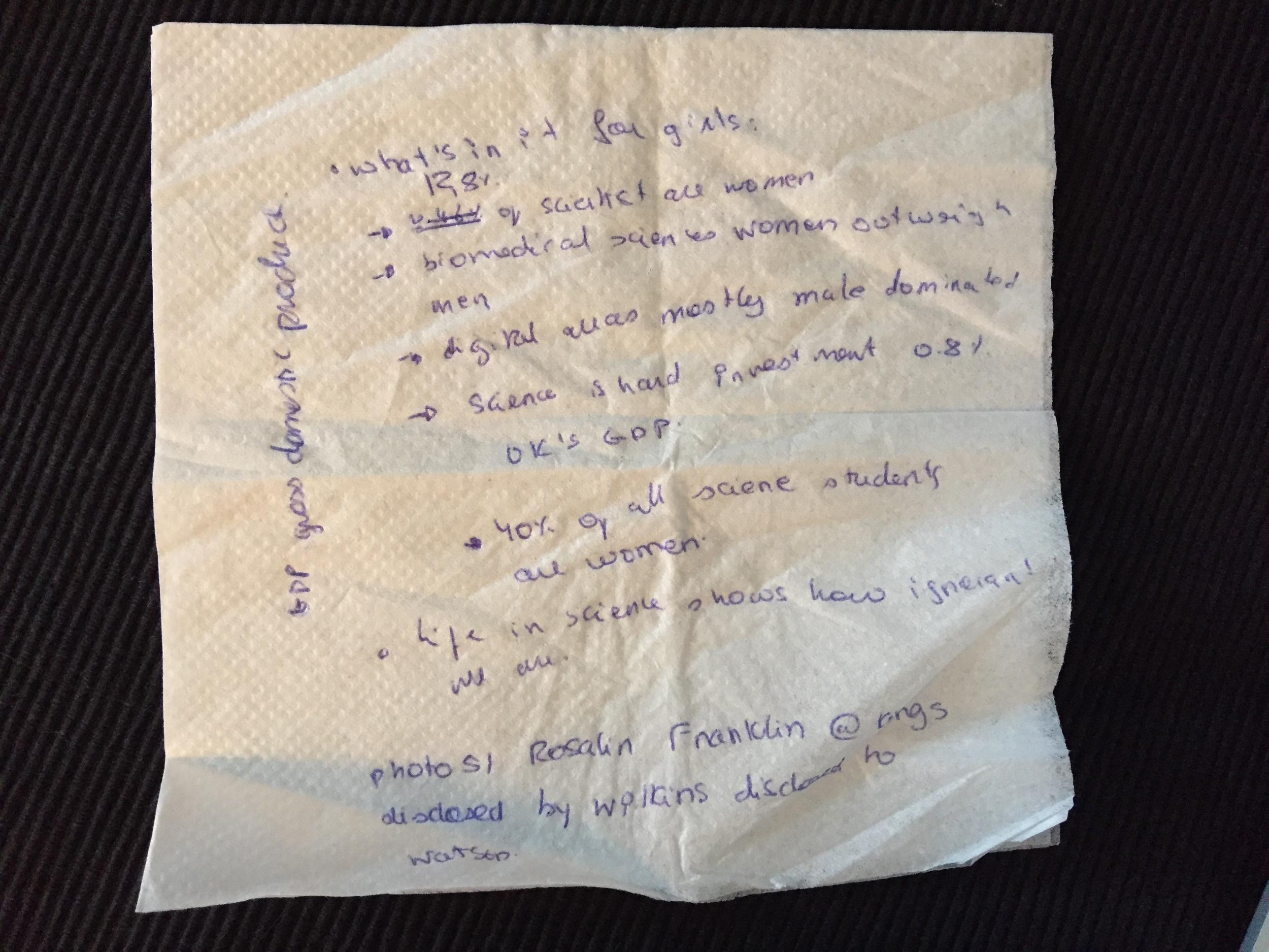 Renata's speech on a napkin