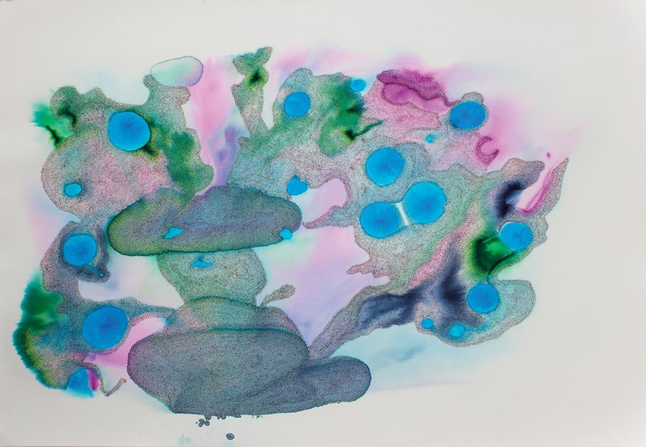 Gor Soudan. Untitled Ink on watercolour paper. 75 x 110cm.