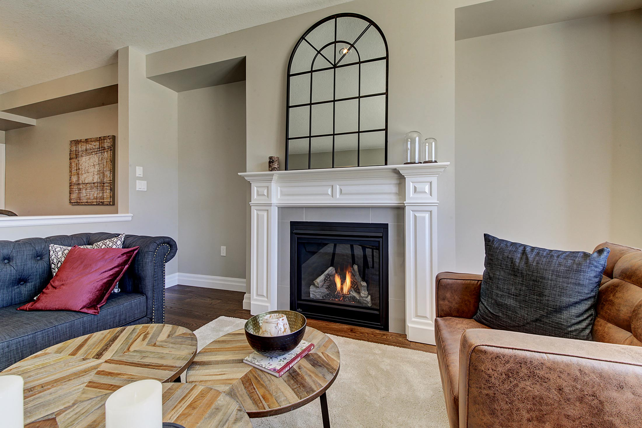 Fireplace   Add warmth, style and a wonderful place for the family to gather with our selection of gas fireplaces. Personalize your fireplace by selecting a mantle and/or tile to suite your décor.