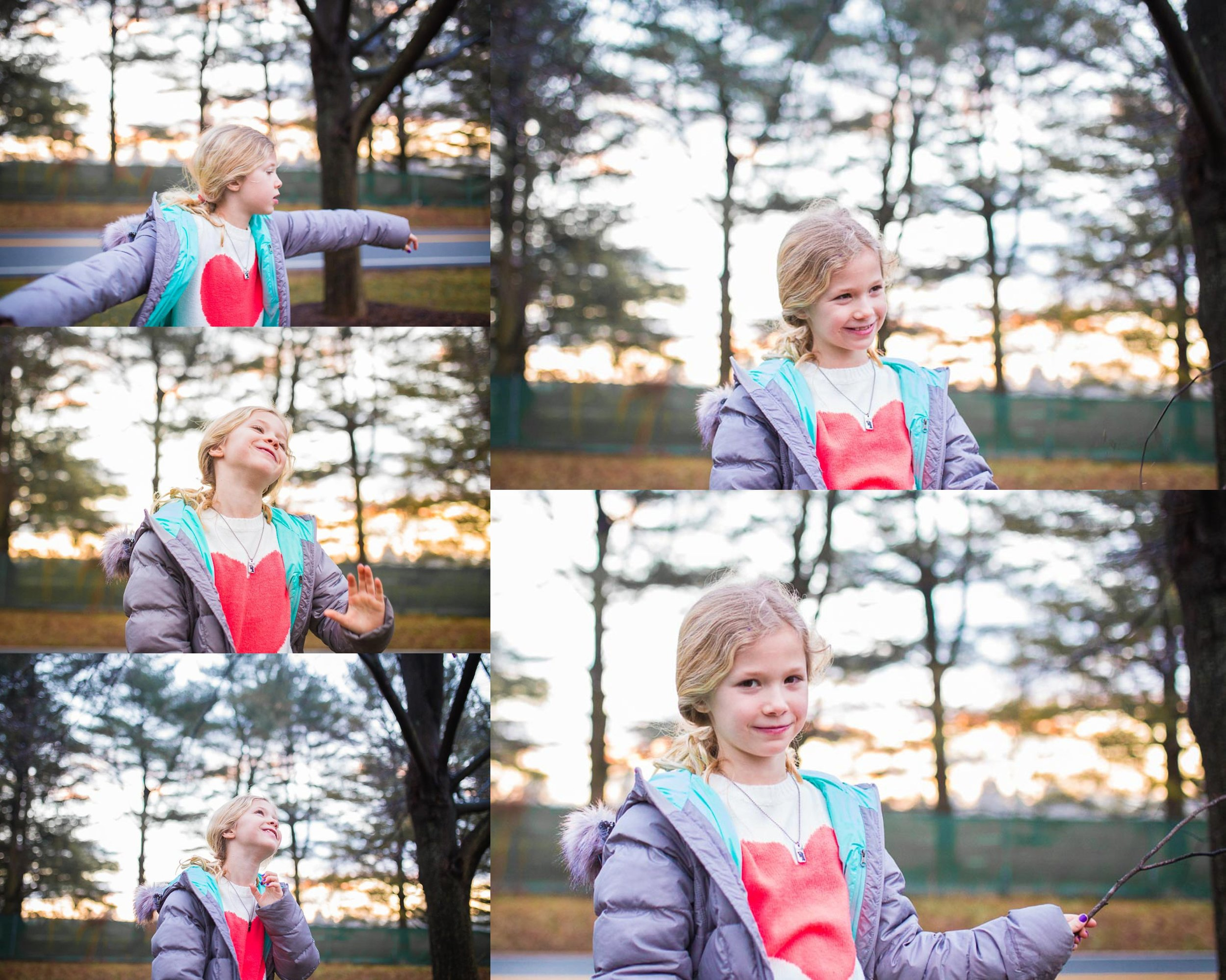 Collage of images of a girl being silly