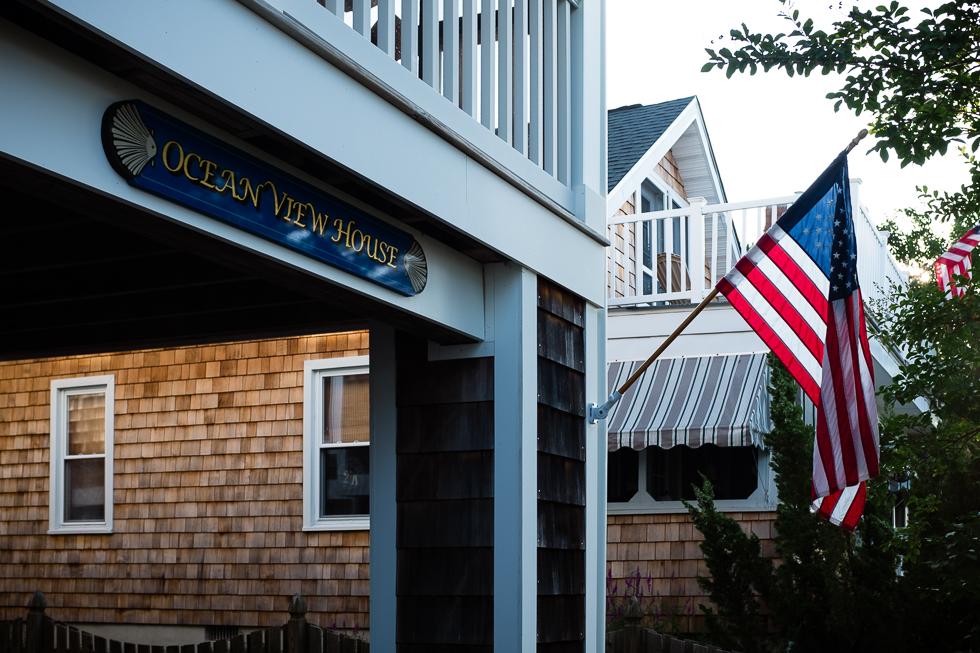Beach house with American Flag