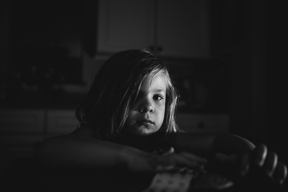 black and white portrait of four year old