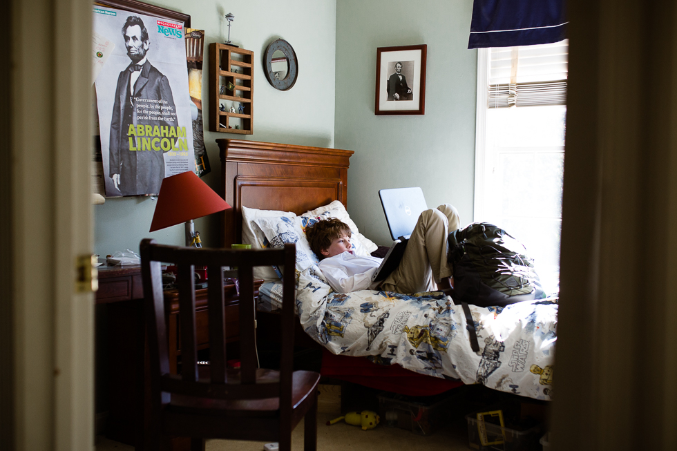 boy in bed after school