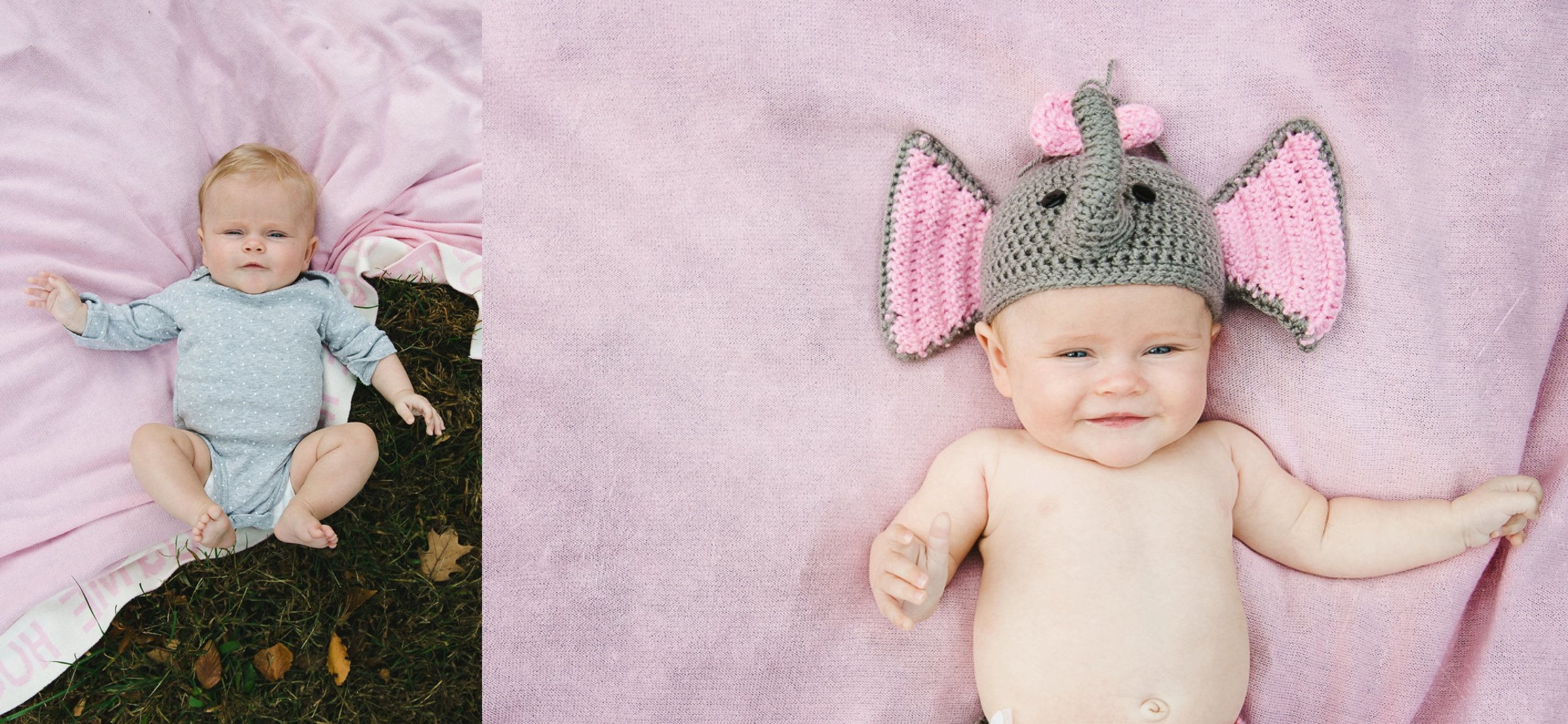 baby girl laying on the ground on pink blanket in elephant hat