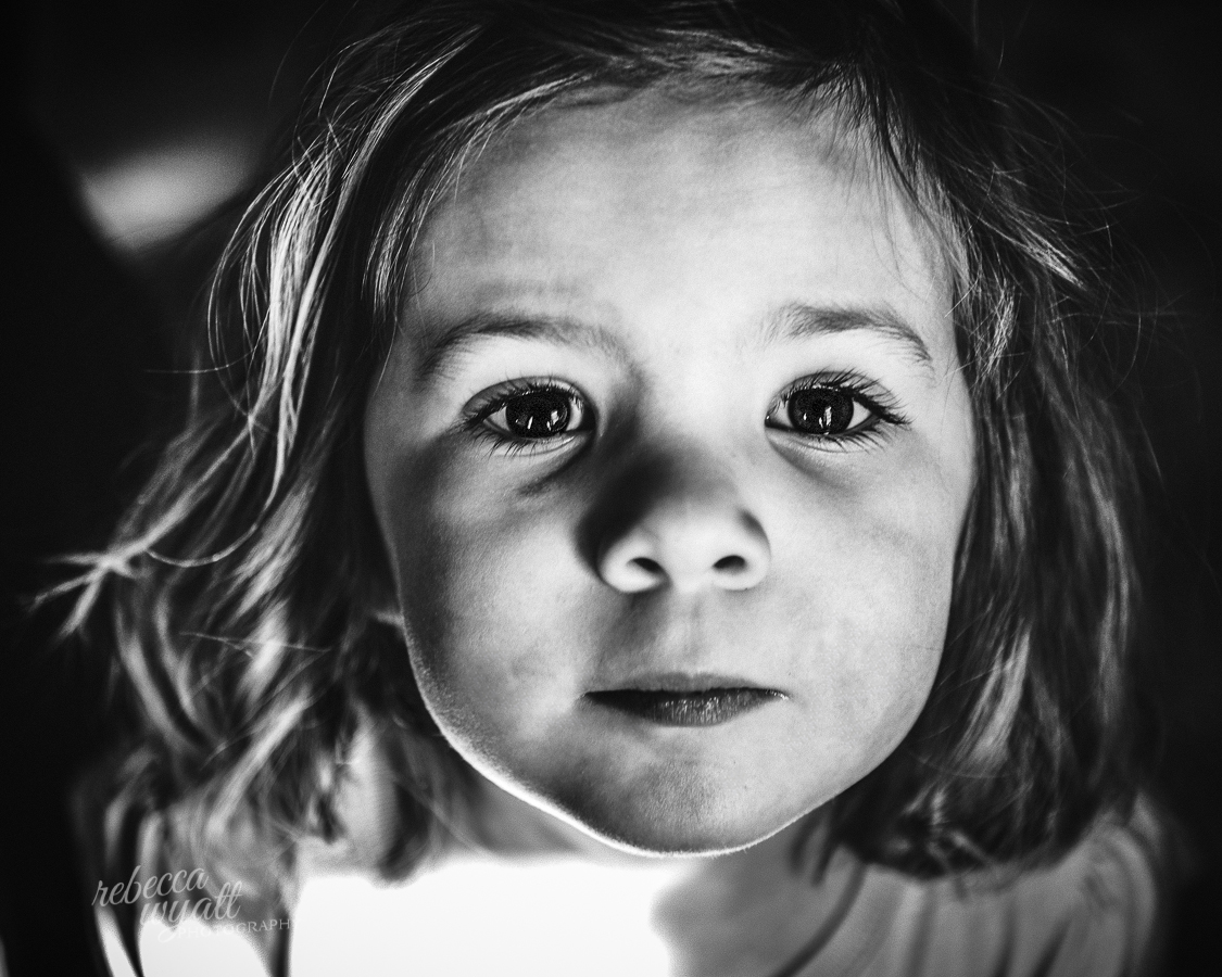 Girl with Big Eyes in Black ad White