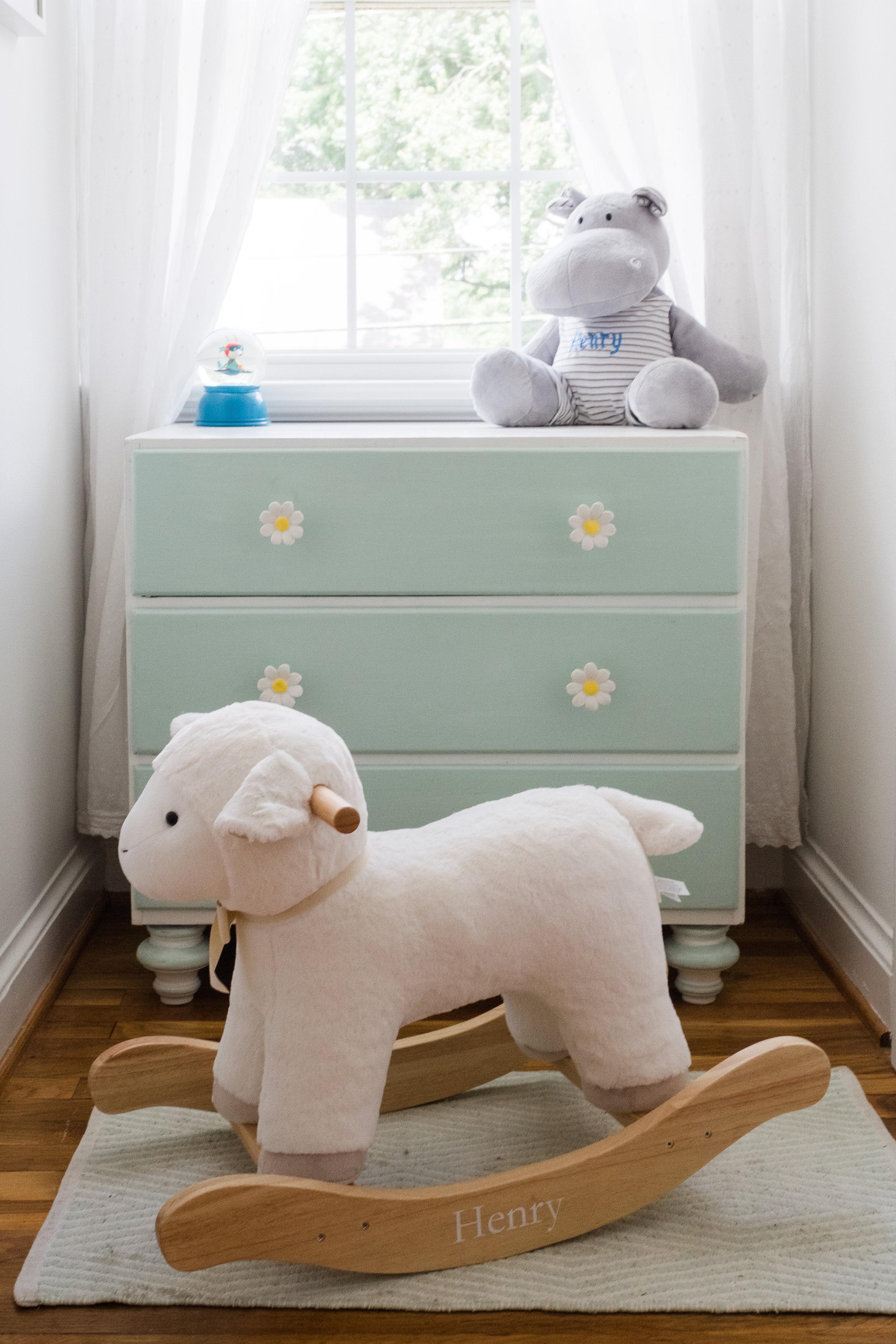 Boy Nursery Photo Dresser with Toy Rocker