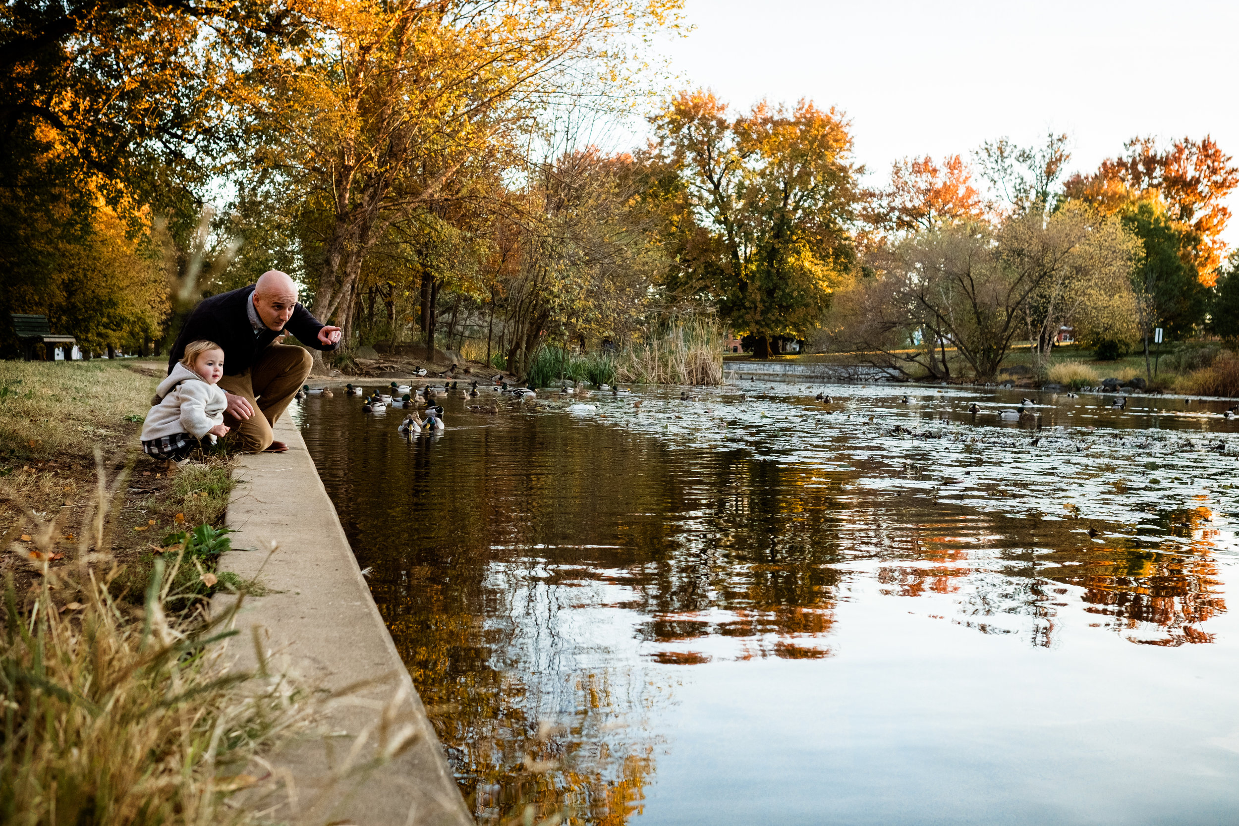 family feeding the ducks at community park pond in Baltimore, Maryland
