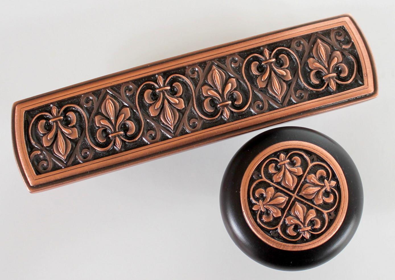 Copper Fleur-de-Lis pull NHP-660 wood knob NHW-760 www.nottinghill-usa.com.JPG