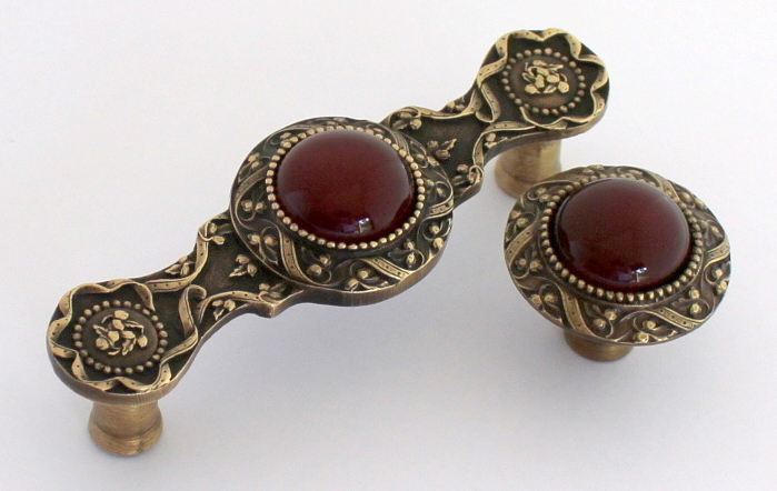 Victorian Jewel Red Carnelian Stone Antique Brass NHP-624-AB-RC NHK-124-AB-RC www.nottinghill-usa.com.JPG