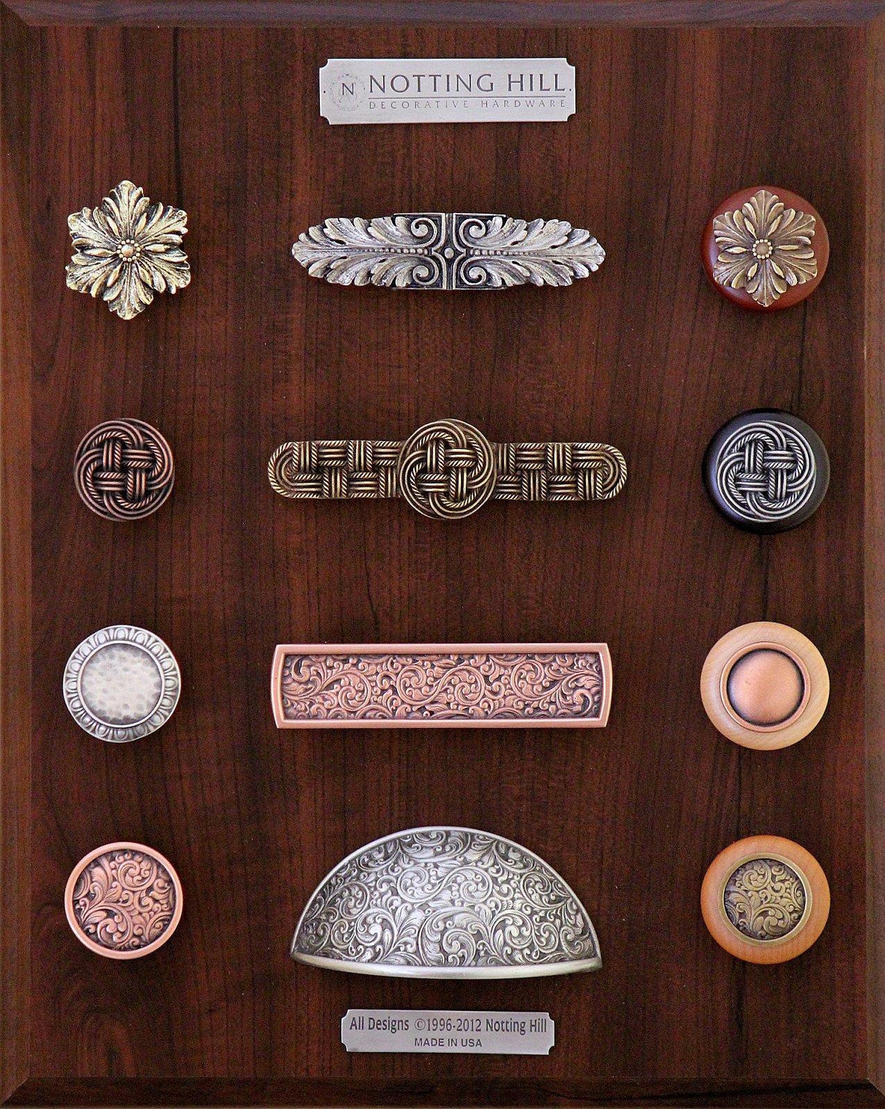 Opulent Flower Knob, Pull, & Wood Knob; Classic Weave Knob, Pull & Wood Knobs; Egg & Dart Knob; Saddleworth Pull; Plain Dome Wood Knob; Saddleworth Knob, Bin Pull & Wood Knob.