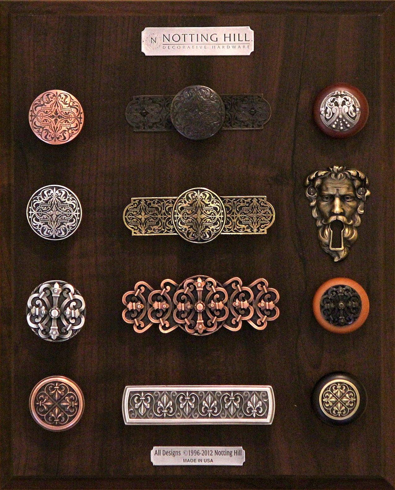 Renaissance Etch Knob, Renaissance Etch Knob & Back Plate; Regal Crest Wood Knob; Renaissance Knob, Renaissance Pull; Sentinel Key Escutcheon, Chateau Knob, Pull, Wood Knob; Fleur-de-Lis Knob, Pull, Wood Knob.