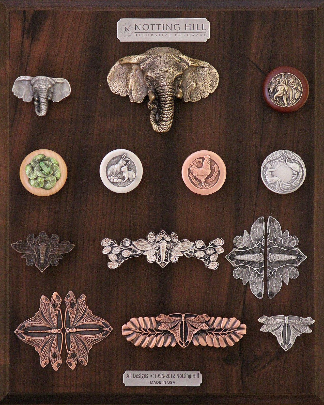 Goliath (Elephant) Knob, Bin Pull; Jungle Patrol Wood Knob, Leap Frog Wood Knob, Rabbits Knob, Rooster Knob, Peacock Lady Knob, Cicada Knob, Pull, Hinge Plate Set; Dragonfly Hinge Plate Set, Pull, Knob.