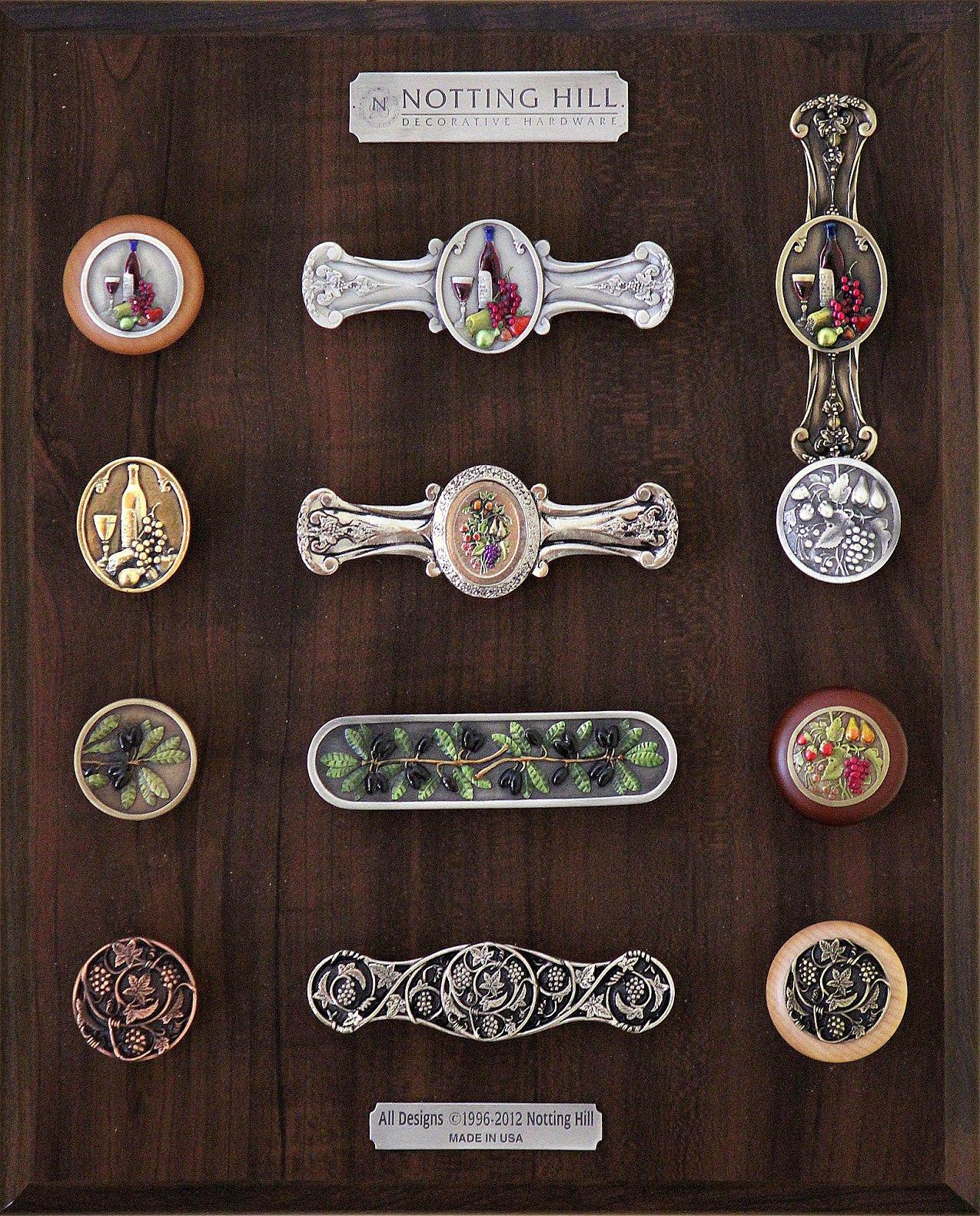 Best Cellar Wood Knob, Pull & Knob; Fruit Bouquet Knob & Pull; Tuscan Bounty Knob; Olive Branch Knob & Pull; Tuscan Bounty Wood Knob; Grapevines Knob, Pull & Wood Knob.