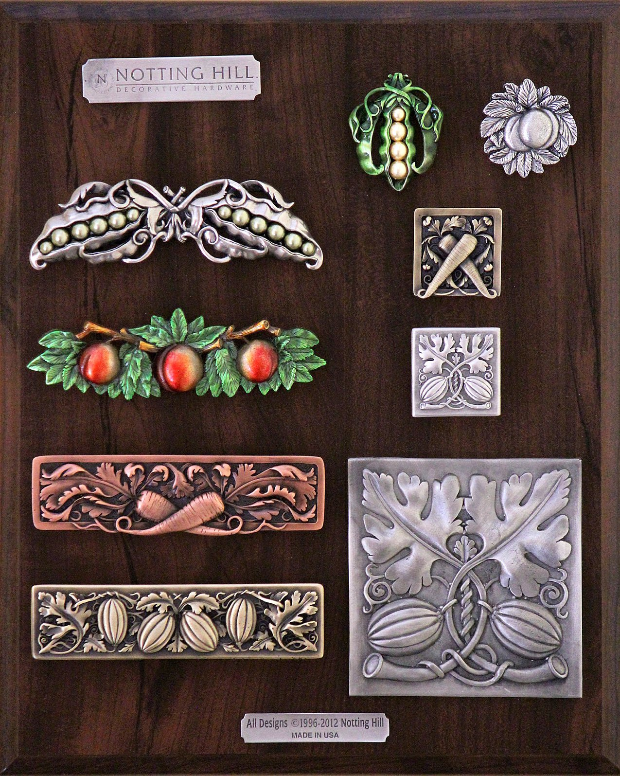 Pearly Peapod Pull & Knob; Georgia Peach Knob; Leafy Carrot Knob; Georgia Peach Pull; Autumn Squash Knob; Leafy Carrot Pull; Autumn Squash Pull; Autumn Squash Tile.