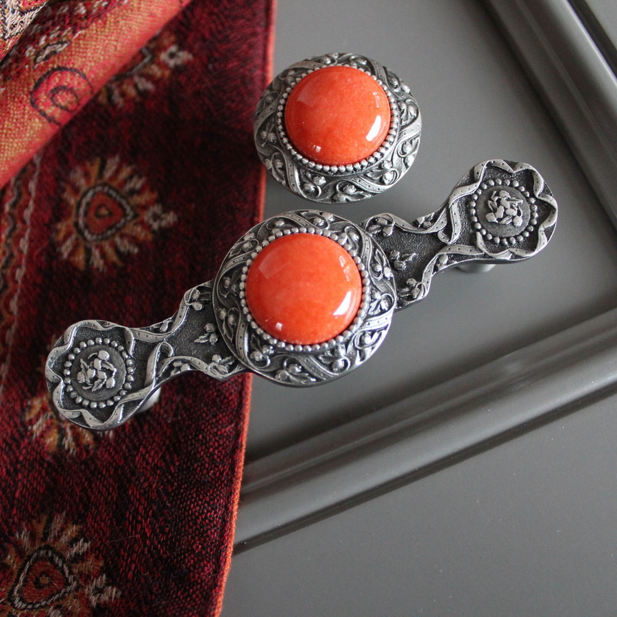 Coral Victorian Jewels in Pewter - Pull NHP-624-AP-CO, Knob NHK-124-AP-CO