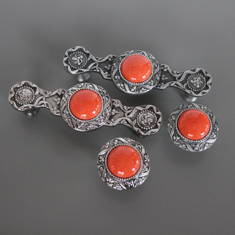Coral stones with Pewter & Brite Nickel finish - NHP-624-AP-CO, NHK-124-AP-CO, NHP-624-BN-CO, NHK-124-BN-CO