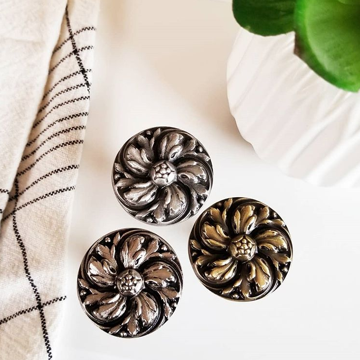 Chrysanthemum Flower Knobs in Antique Pewter, Satin Nickel, Antique Brass