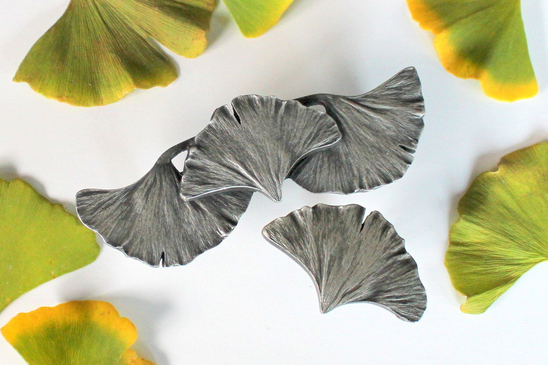 Ginkgo Leaf Knob and Pull in Antique Pewter