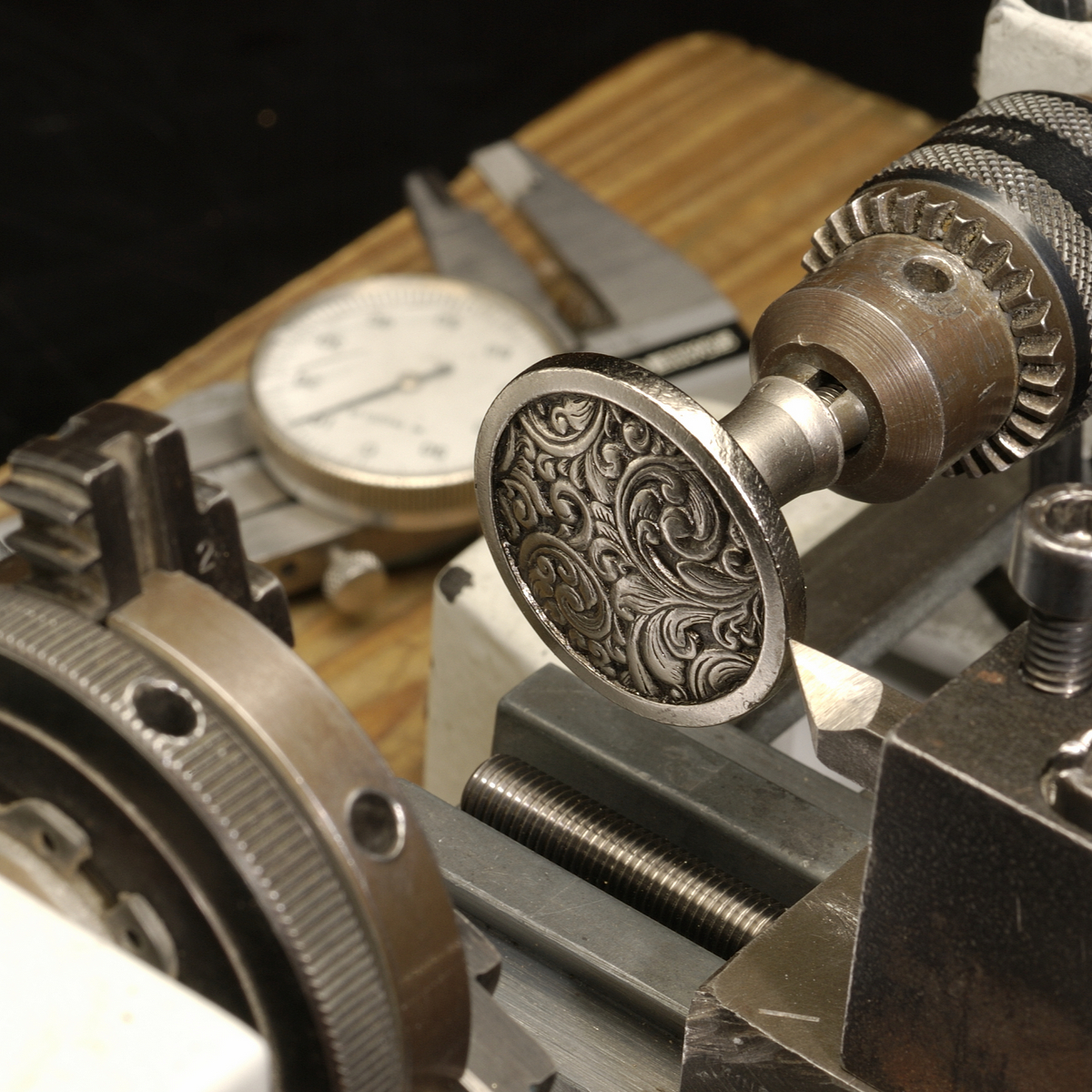 Saddleworth Knob on the lathe
