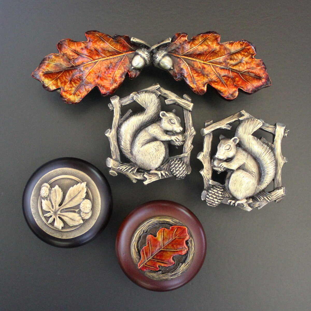 Incorporate Natural Elements - Think Fall Oak Leaf Pulls, Chestnut Wood Knobs, and Squirrel Knobs