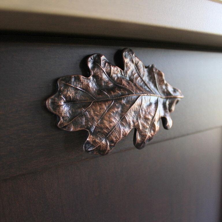 Add Textural Details - Oak Leaf Bin Pull NHBP-844-AC in Antique Copper