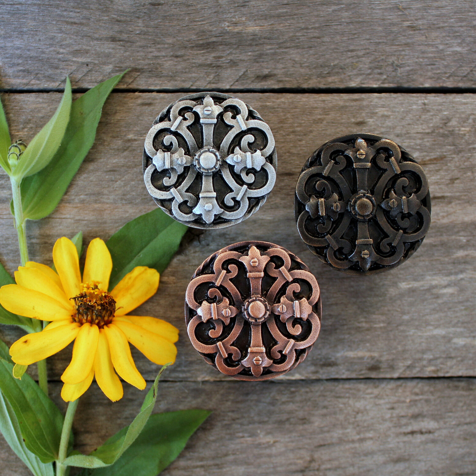 Rustic Elegance - Chateau Knobs NHK-176 in Antique Copper, Dark Brass and Antique Pewter