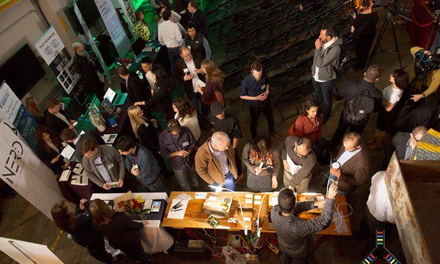 Attendees browse at IndieBio's demo day in San Francisco. Photograph: IndieBio