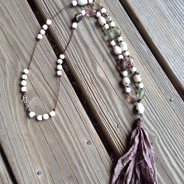 African beads with silk tassel necklace.jpg