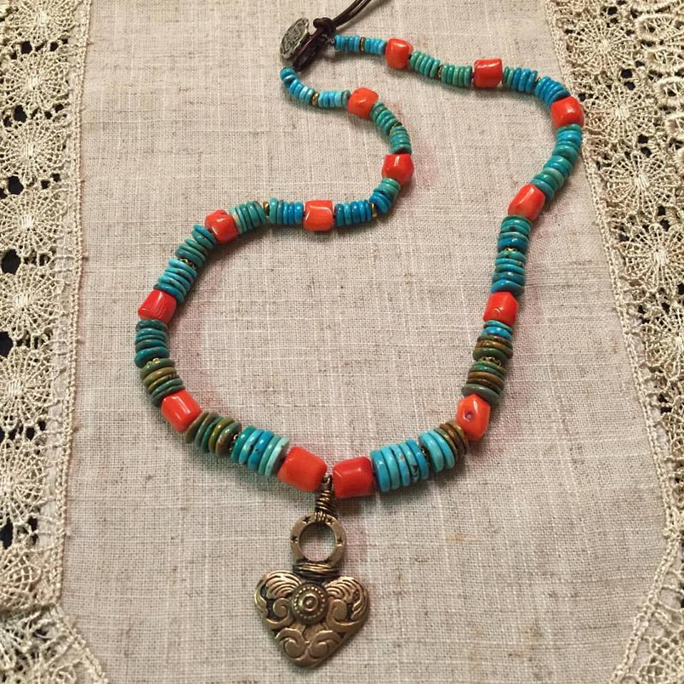 Coral and Turquoise Short Necklace.jpg