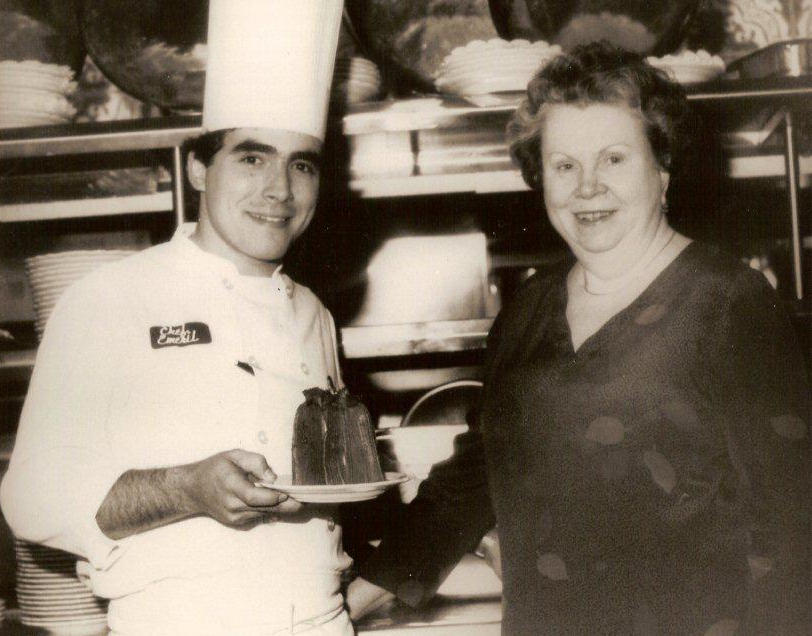 The legendary Ella Brennan in the kitchen with Emeril Lagasse