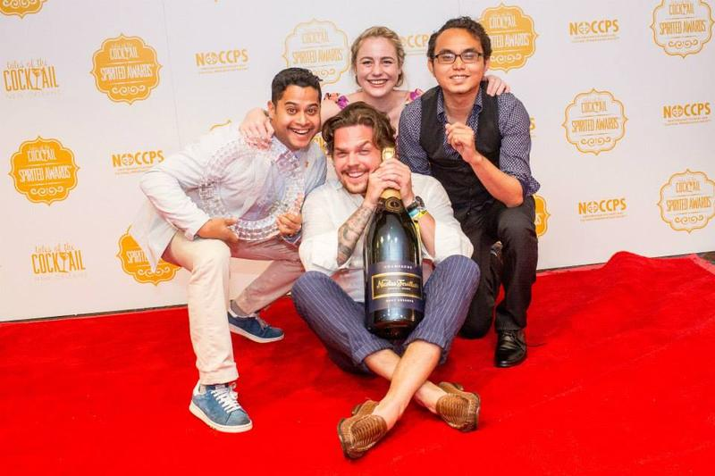 "Zdenek Kastanek (center) with fellow 28 Hong Kong Street employees after being awarded ""Best International Bar Team"" at the 2015 Tales of the Cocktail Spirited Awards.    TALES OF THE COCKTAIL/FACEBOOK"