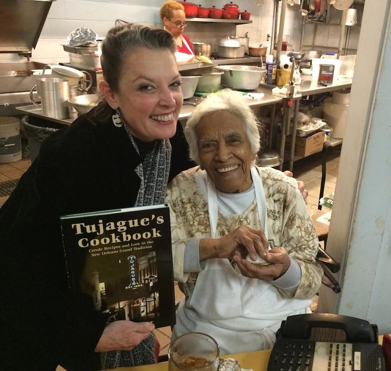 Poppy Tooker and Leah Chase in the kitchen of Dooky Chase's Restaurant    JOE SHRINER