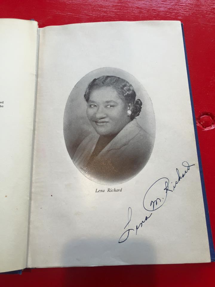Signed copy of culinary entrepreneur and television pioneer Lena Richard's self-published cookbook, from the John and Bonnie Boyd Hospitality and Culinary Library.   CREDIT THE SOUTHERN FOOD AND BEVERAGE MUSEUM / FACEBOOK