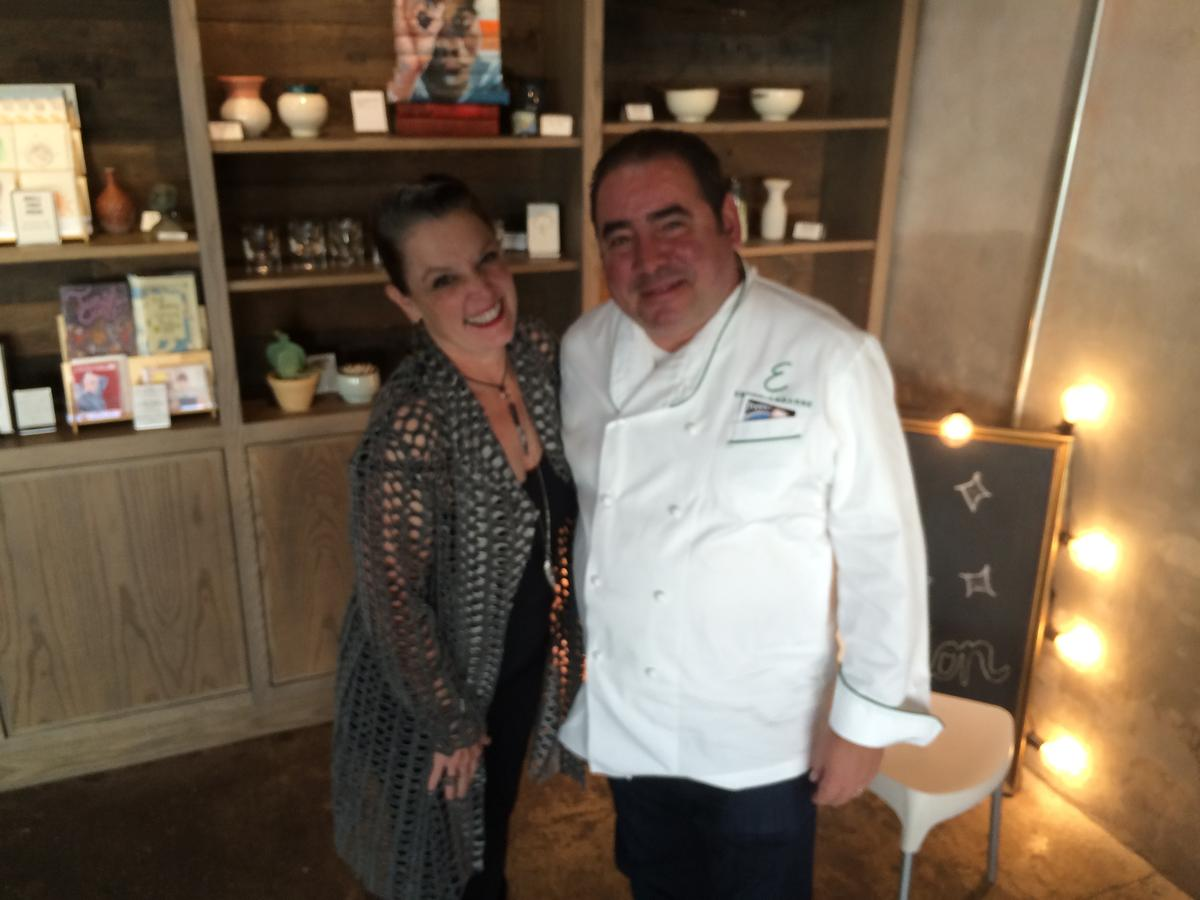 Host Poppy Tooker and Chef Emeril Lagasse at Press Street Station on NOCCA's campus.   CREDIT JOE SHRINER
