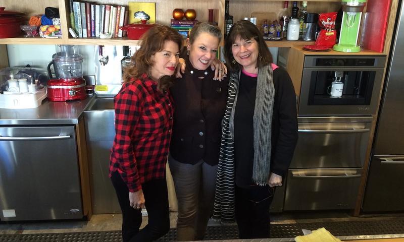 Host Poppy Tooker with NPR's Kitchen Sisters Davia Nelson, left, and Nikki Silva, right.    JOE SHRINER