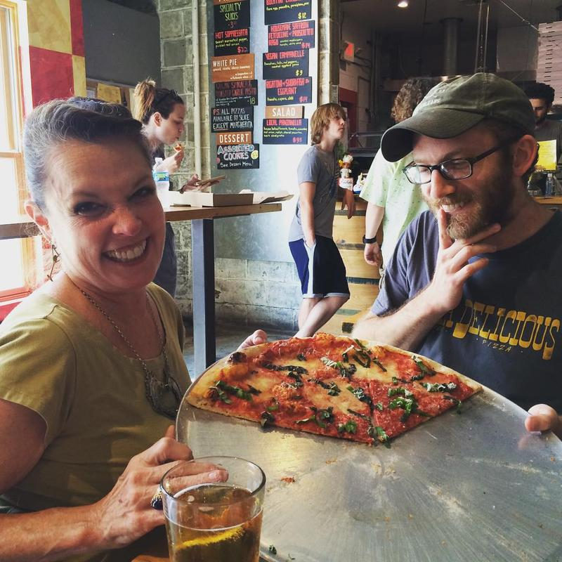 Host Poppy Tooker and Pizza Delicious co-owner Michael Friedman at the Bywater hot spot.    JOE SHRINER