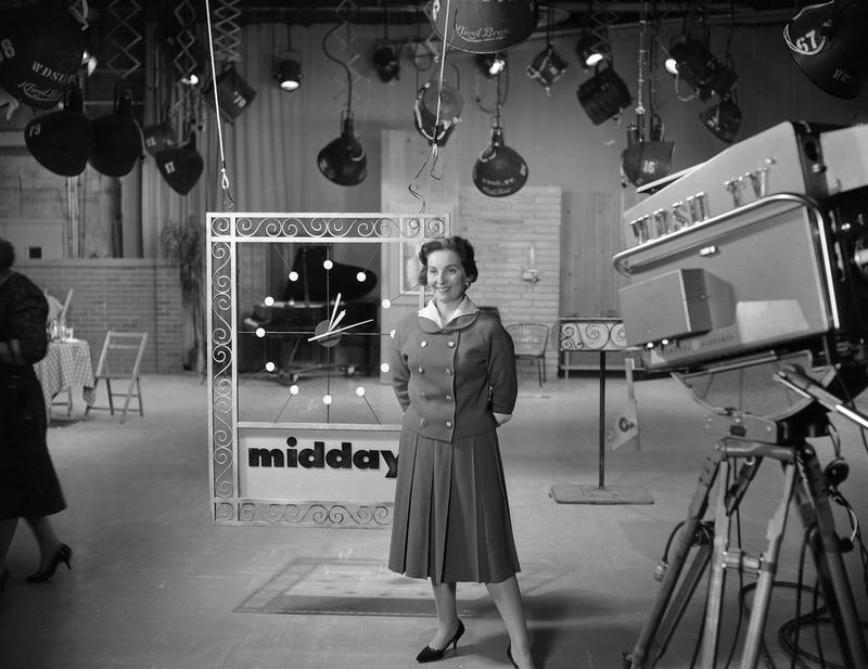 """Terry Flettrich Rohe on the set of WDSU's """"Midday"""" show, a popular news-talk program, which she produced and hosted.    COURTESY OF DOMINIC MASSA/WWL-TV"""