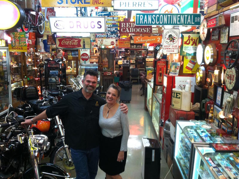 Ed Piglia and Poppy Tooker at Ed's warehouse filled with New Orleans memorabilia.    JOE SHRINER